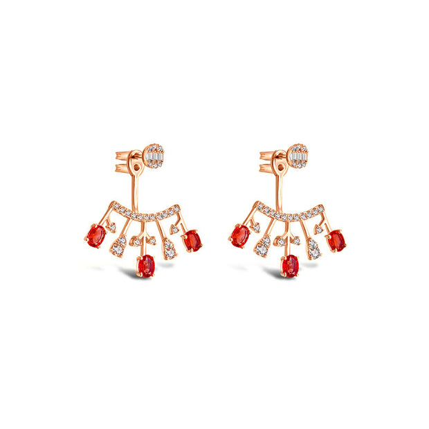 18k Gold Diamond Ear Jacket with Ruby - Genevieve Collection