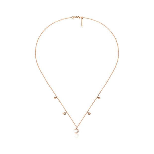 18k Gold Moon & Star Shape Diamond Necklace / Choker - Genevieve Collection