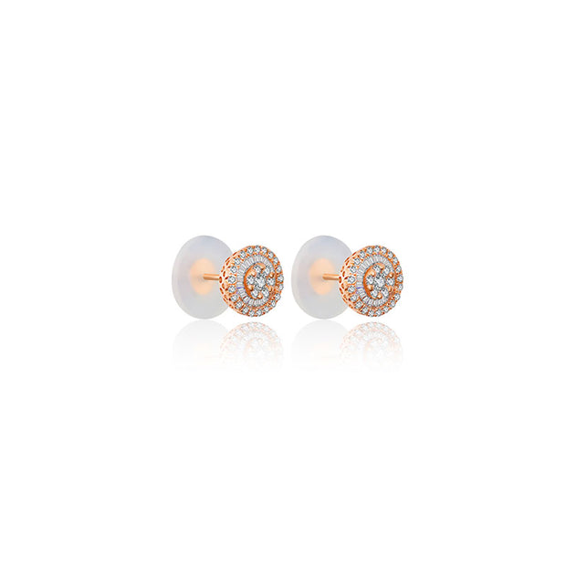 18k Gold Round Shape Diamond Earring - Genevieve Collection