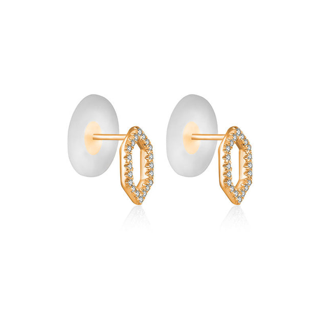 18k Gold Hollow Hexagonal Diamond Earring - Genevieve Collection