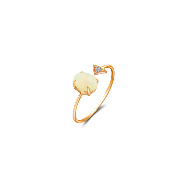 18k Gold Opal Open Diamond Ring With Arrow Shape - Genevieve Collection
