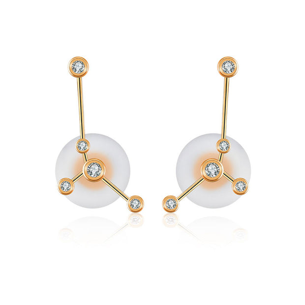 18k Gold Cancer Diamond Earring - Genevieve Collection