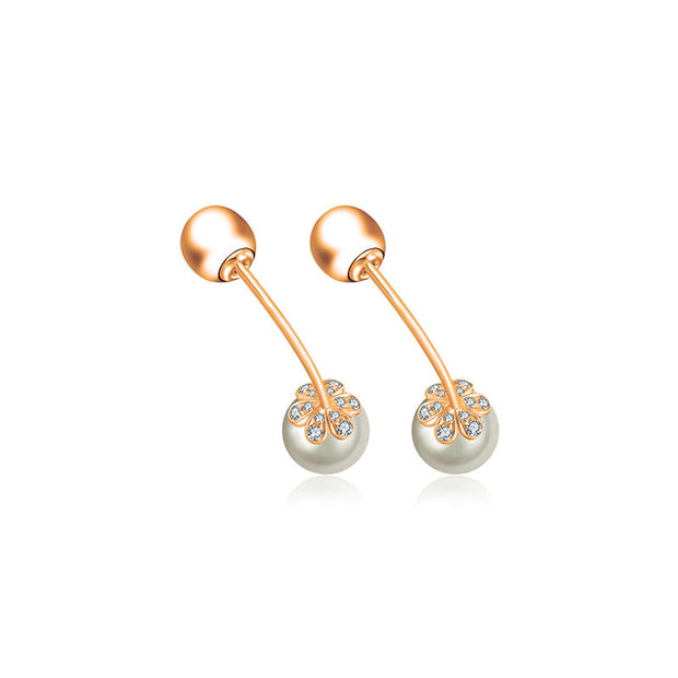 18k Gold 2 Ways Pearl Diamond Earring - Genevieve Collection
