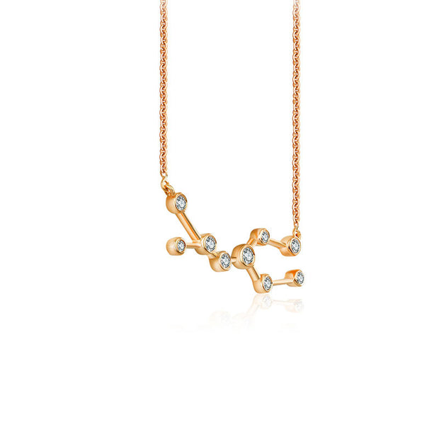 Gemini Zodiac Constellation Necklace 18k Gold & Diamond - Genevieve Collection
