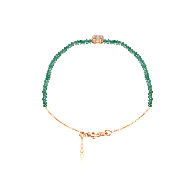 18k Gold Emerald Beaded with Square Shape Diamond Bracelet