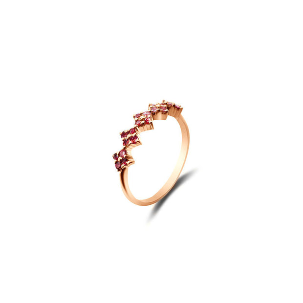 18k Gold Square Pattern Ruby Ring - Genevieve Collection