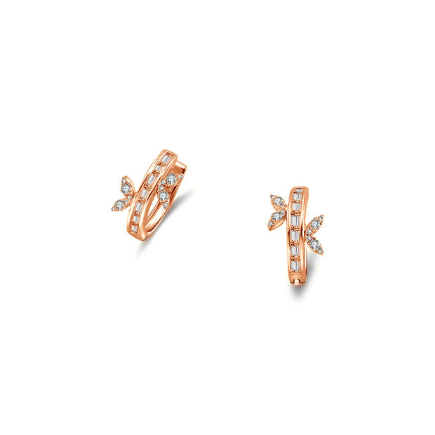 18k Gold Hoop Diamond Earring with Butterfly Pattern - Genevieve Collection