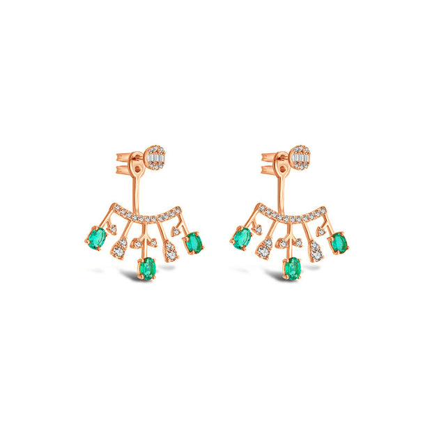 18k Gold Diamond Ear Jacket with Emerald - Genevieve Collection