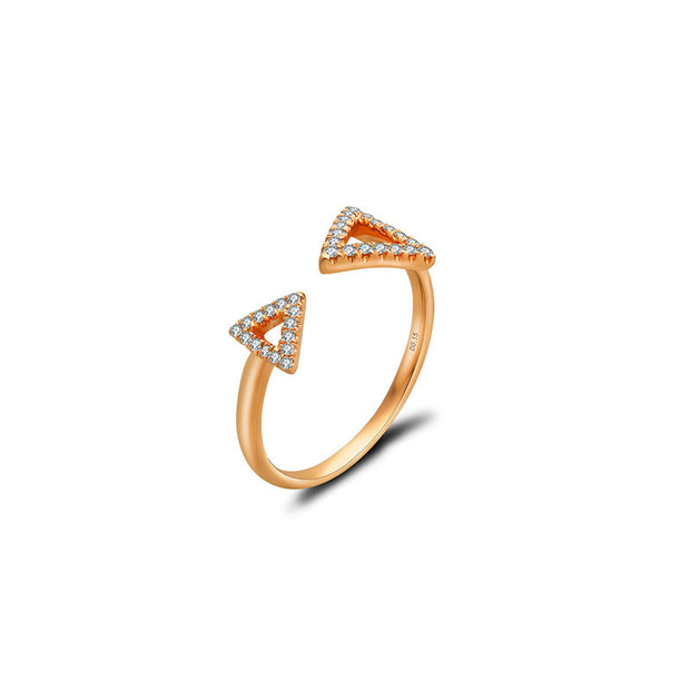 18k Gold Double Arrow Diamond Ring - Genevieve Collection