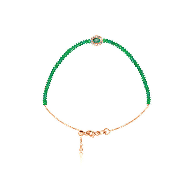 18k Gold Emerald Beaded Diamond Bracelet