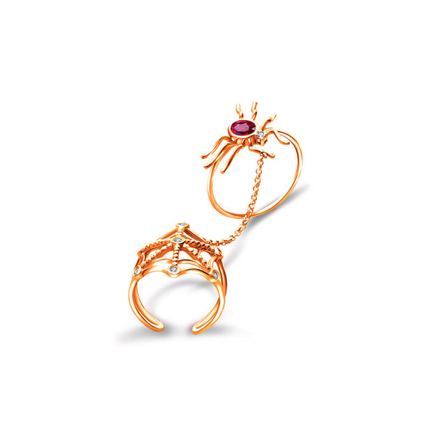 18k Gold Spider Connection Diamond Ring With Ruby - Genevieve Collection