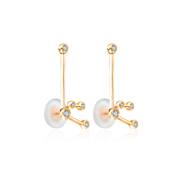 Aquarius Zodiac Constellation Earring 18k Gold & Diamond - Genevieve Collection