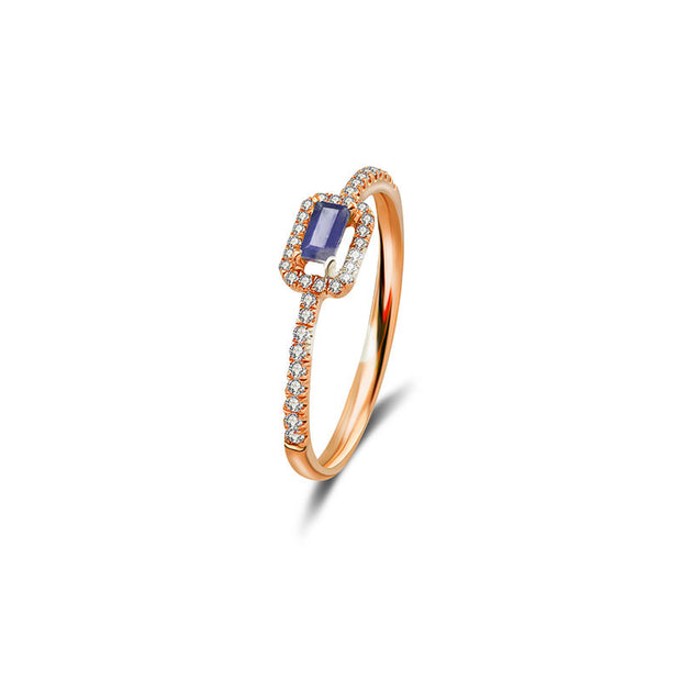 18k Gold Rectangle Shape Sapphire Ring Surrounded by Diamond