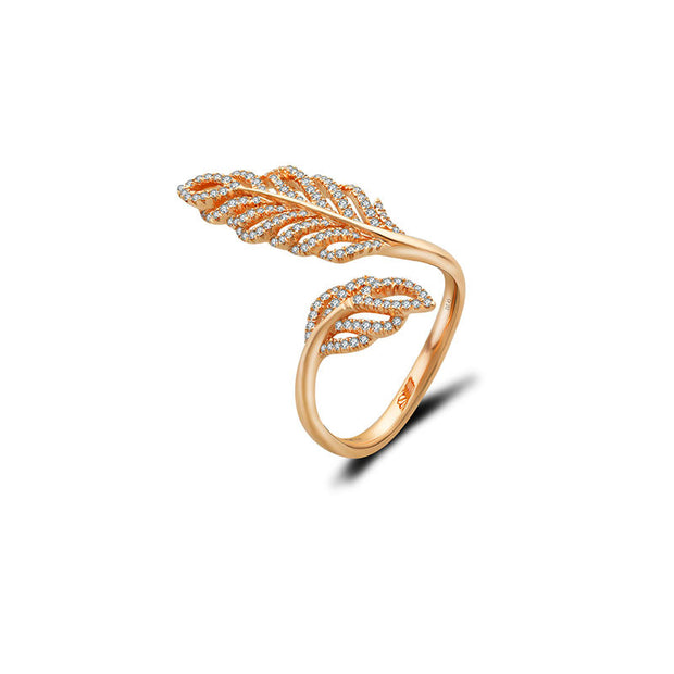18k Gold Leaf Shape Open Diamond Ring - Genevieve Collection