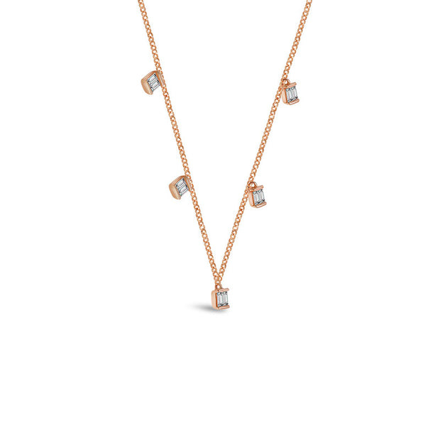 18k Gold Square Shape Diamond Necklace / Choker