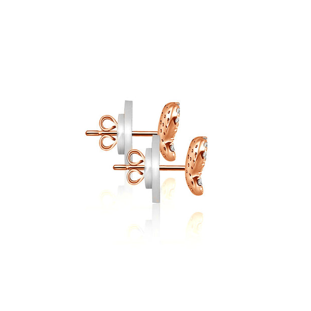 18k Gold Butterfly Shape Diamond Earring