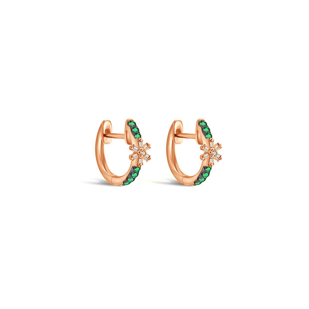 18k Gold Hoop Diamond And Emerald Earring with Flower Pattern - Genevieve Collection