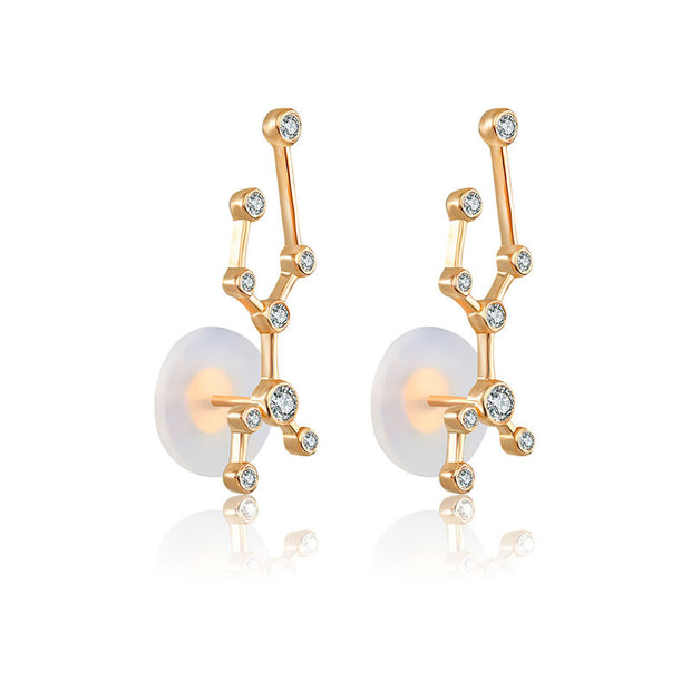 Virgo Zodiac Constellation Earring 18k Gold & Diamond - Genevieve Collection