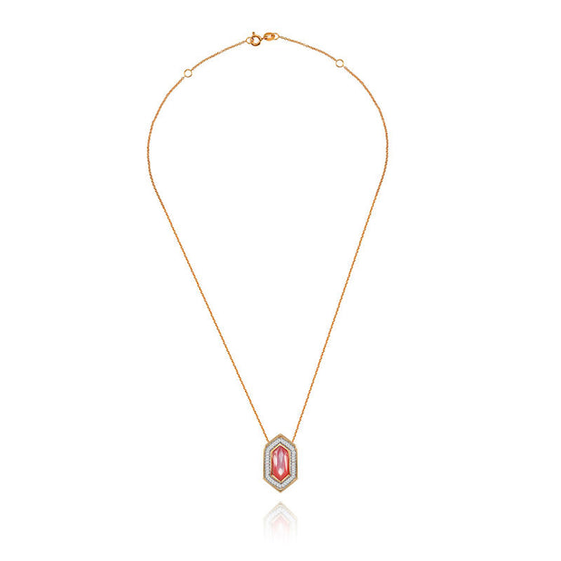 18k Gold Hexagonal Shape Pink Shell Diamond Necklace - Genevieve Collection