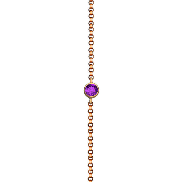 18k Gold February Birthstone Amethyst Bracelet - Genevieve Collection