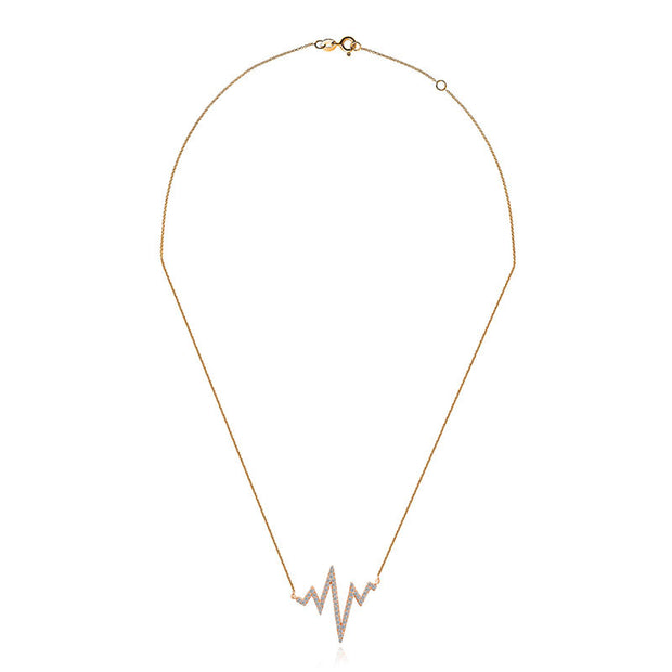 18k Gold Heartbeat Diamond Necklace - Genevieve Collection