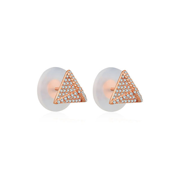 18k Gold Tetrahedron Diamond Earring - Genevieve Collection