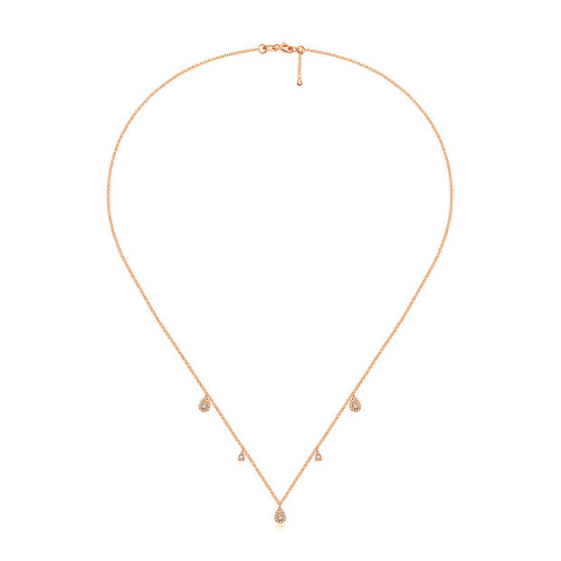 18k Gold Drop Shape Diamond Necklace / Choker - Genevieve Collection
