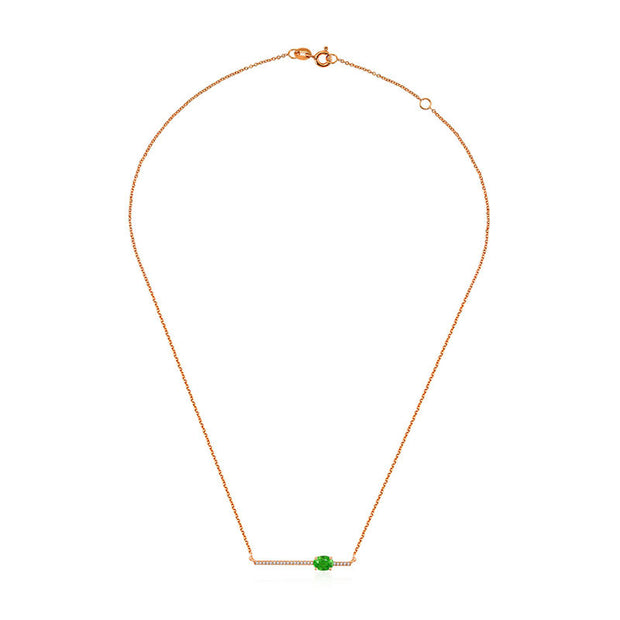 18k Gold Line Diamond Necklace with Emerald - Genevieve Collection