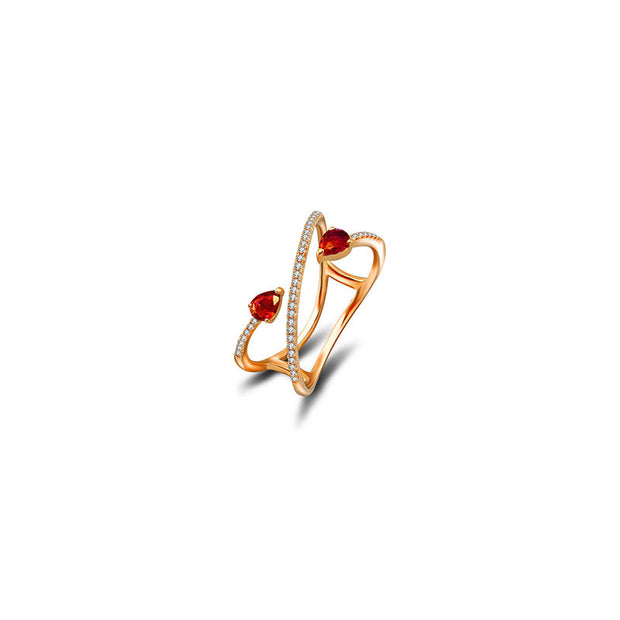 18k Gold Ruby Arrow Spiral Diamond Ring - Genevieve Collection