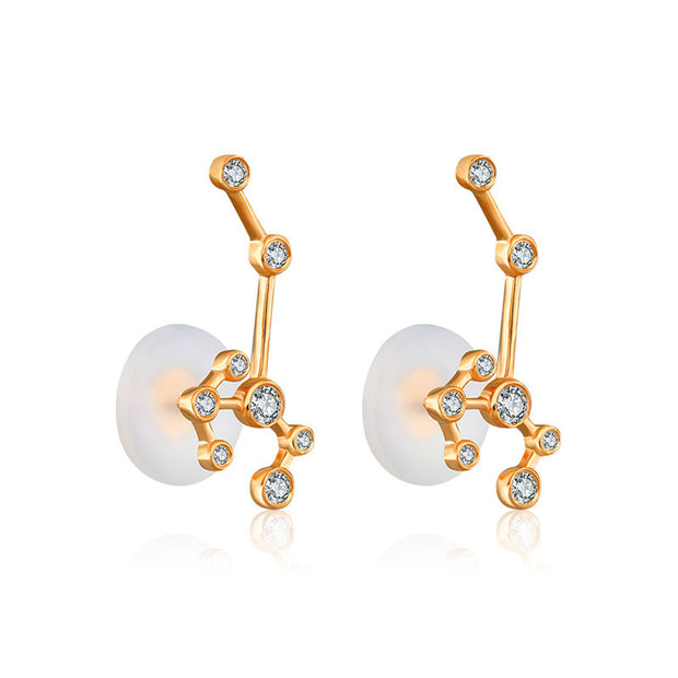 Sagittarius Zodiac Constellation Earring 18k Gold & Diamond - Genevieve Collection