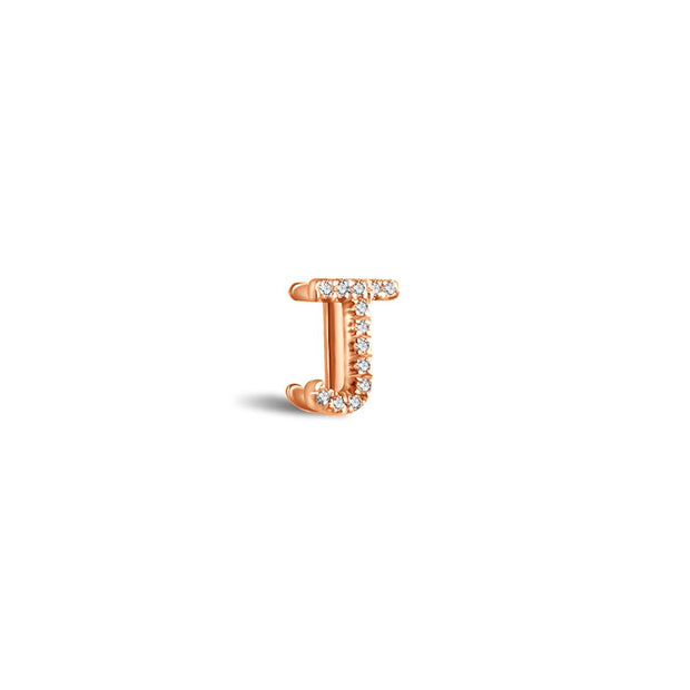 "18k Gold Initial Letter ""J"" Diamond Pandent + Necklace - Genevieve Collection"
