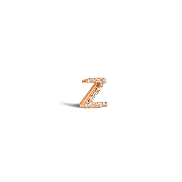 "18k Gold Initial Letter ""Z"" Diamond Pandent + Necklace - Genevieve Collection"