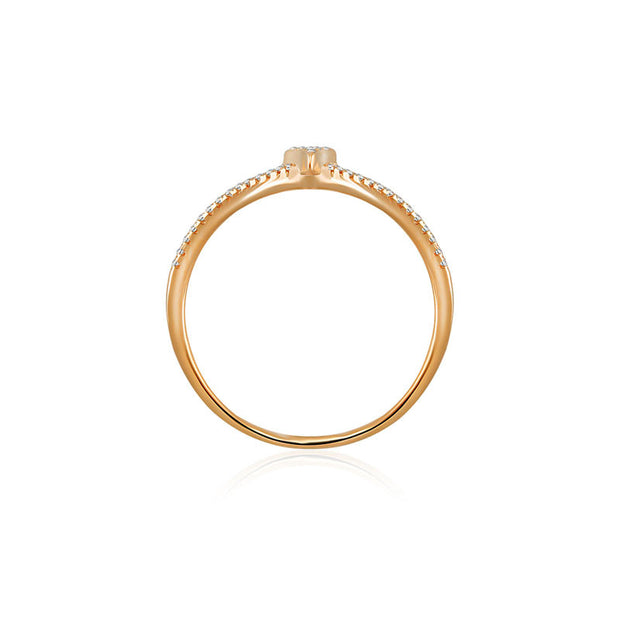 18k Gold Double Wave Arrow Diamond Ring - Genevieve Collection