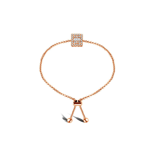 18k Gold Square-Shaped Adjustable Diamond Bracelet - Genevieve Collection