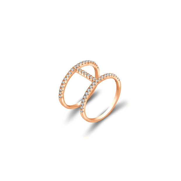18k Gold Connected Line Diamond Ring