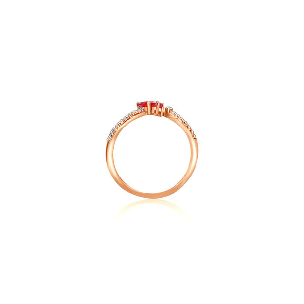 18k Gold Double Ruby Connected Diamond Ring - Genevieve Collection