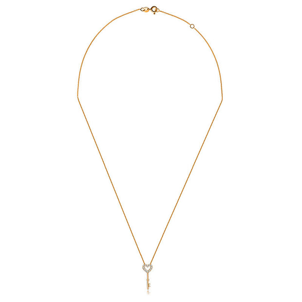 18k Gold Key Shape Diamond Necklace - Genevieve Collection