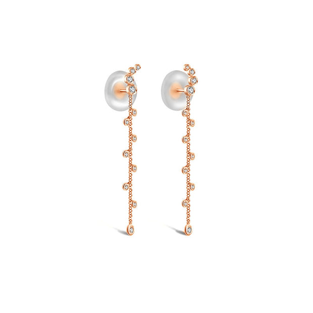 18k Gold Round Pattern Dangle Diamond Earring - Genevieve Collection