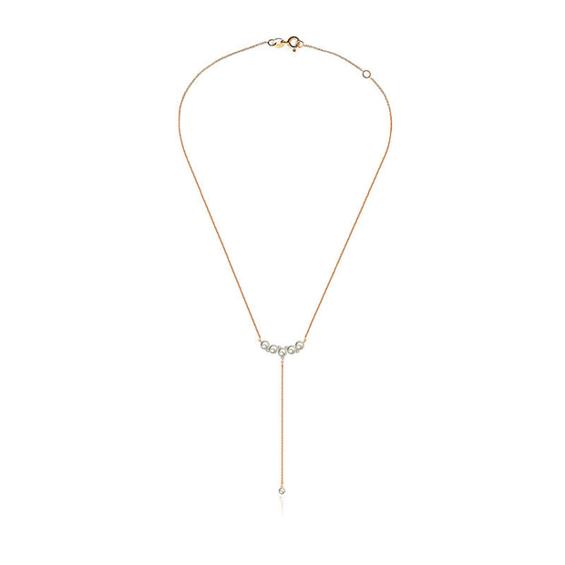 18k Gold Pearl Dangling Diamond Necklace - Genevieve Collection