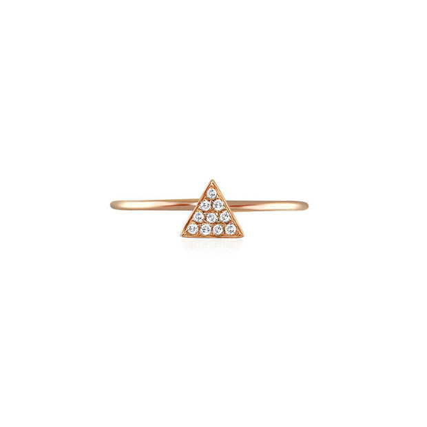 18k Gold Triangle Shape Pave Diamond Ring