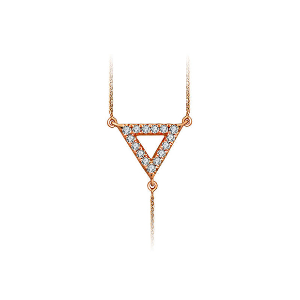 18k Gold Hollow Triangle Dangling Diamond Necklace - Genevieve Collection
