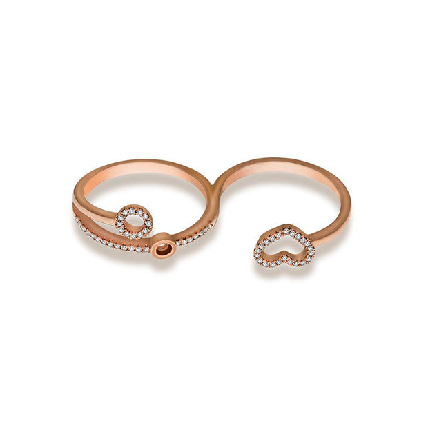 18k Gold Free Flow Heart Double Ring - Genevieve Collection