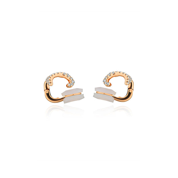 18k Gold Twisted Curve Diamond Ear Cuff - Genevieve Collection