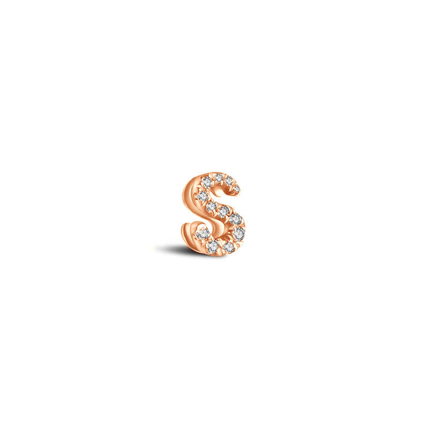 "18k Gold Initial Letter ""S"" Diamond Pendant - Genevieve Collection"