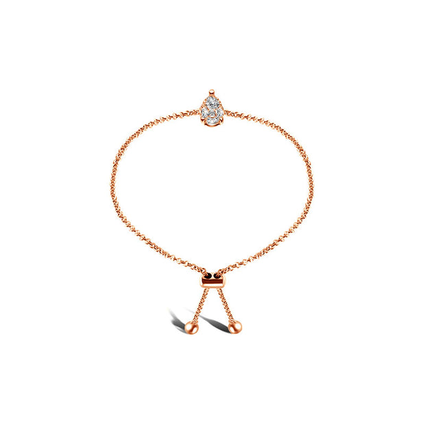 18k Gold Pear-Shaped Adjustable Diamond Bracelet - Genevieve Collection