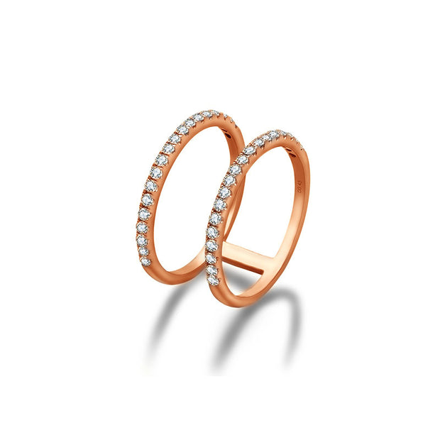 18k Gold Double Line Diamond Ring - Genevieve Collection