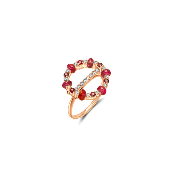 18k Gold 2 ways Beaded Ruby and Diamond Ring - Genevieve Collection