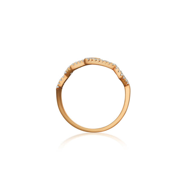 18k Gold Heartbeat Diamond Ring - Genevieve Collection