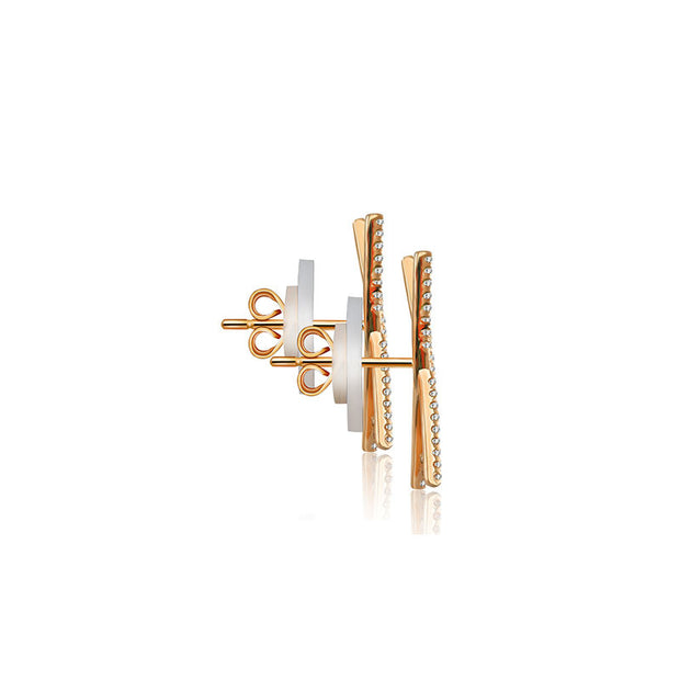 18k Gold Cross Diamond Earring - Genevieve Collection