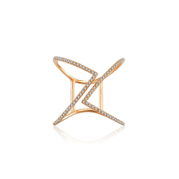 18k Gold Double Arrow Diamond Open Ring - Genevieve Collection